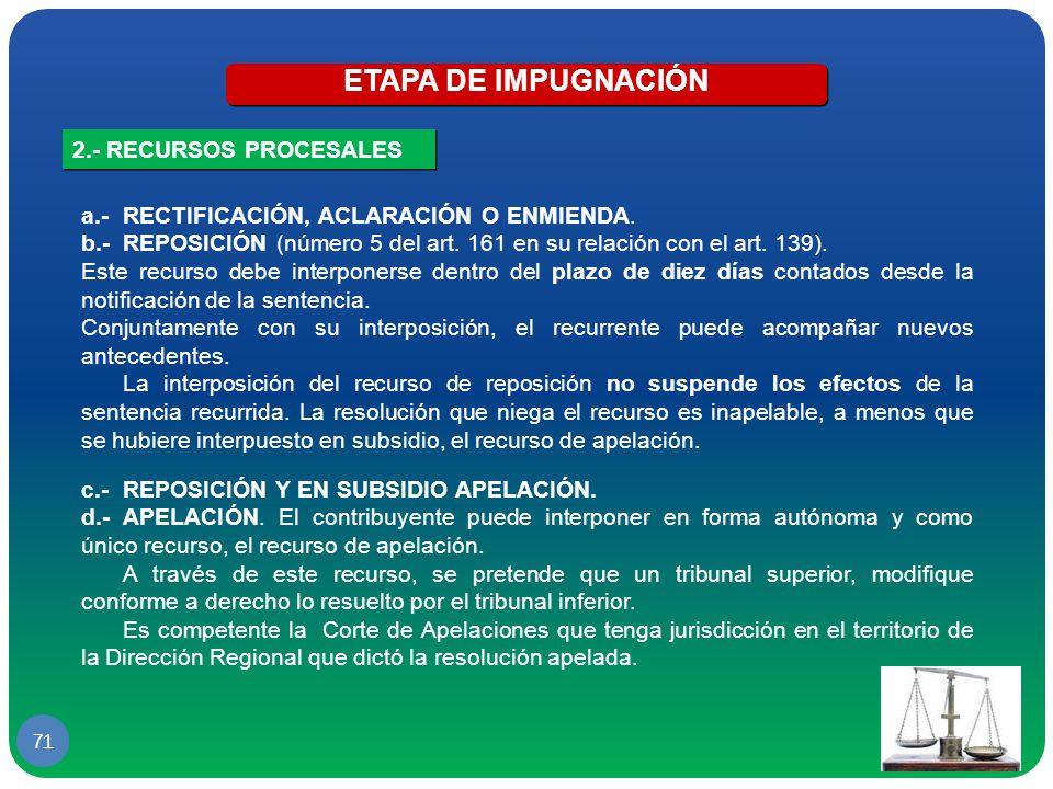 ETAPA DE IMPUGNACIÓN 2.- RECURSOS PROCESALES