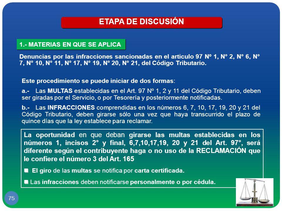ETAPA DE DISCUSIÓN 1.- MATERIAS EN QUE SE APLICA.
