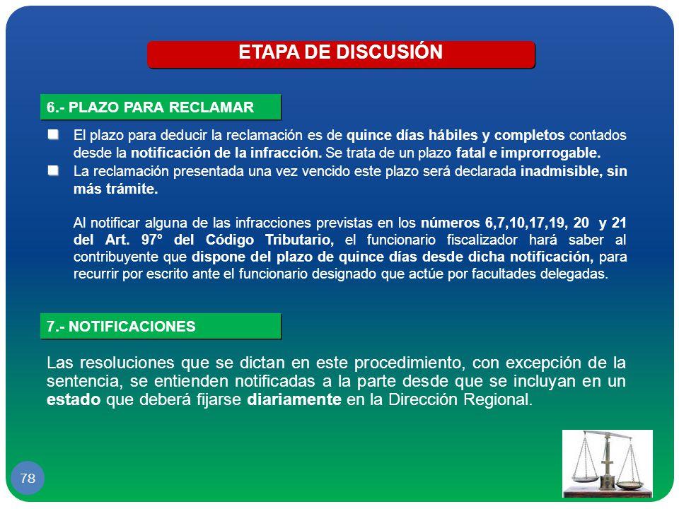 ETAPA DE DISCUSIÓN 6.- PLAZO PARA RECLAMAR.