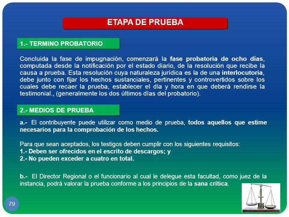 ETAPA DE PRUEBA 1.- TERMINO PROBATORIO