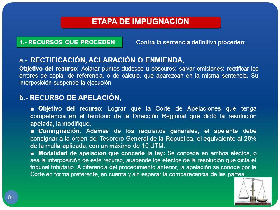 ETAPA DE IMPUGNACION a.- RECTIFICACIÓN, ACLARACIÓN O ENMIENDA,