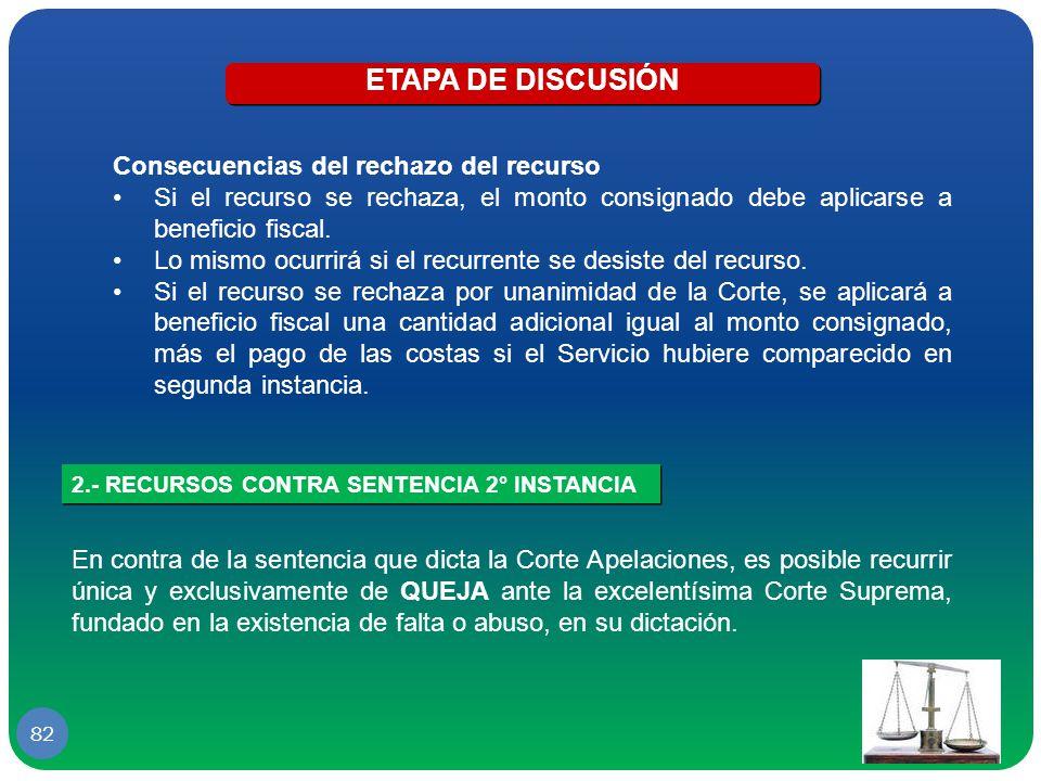 ETAPA DE DISCUSIÓN Consecuencias del rechazo del recurso