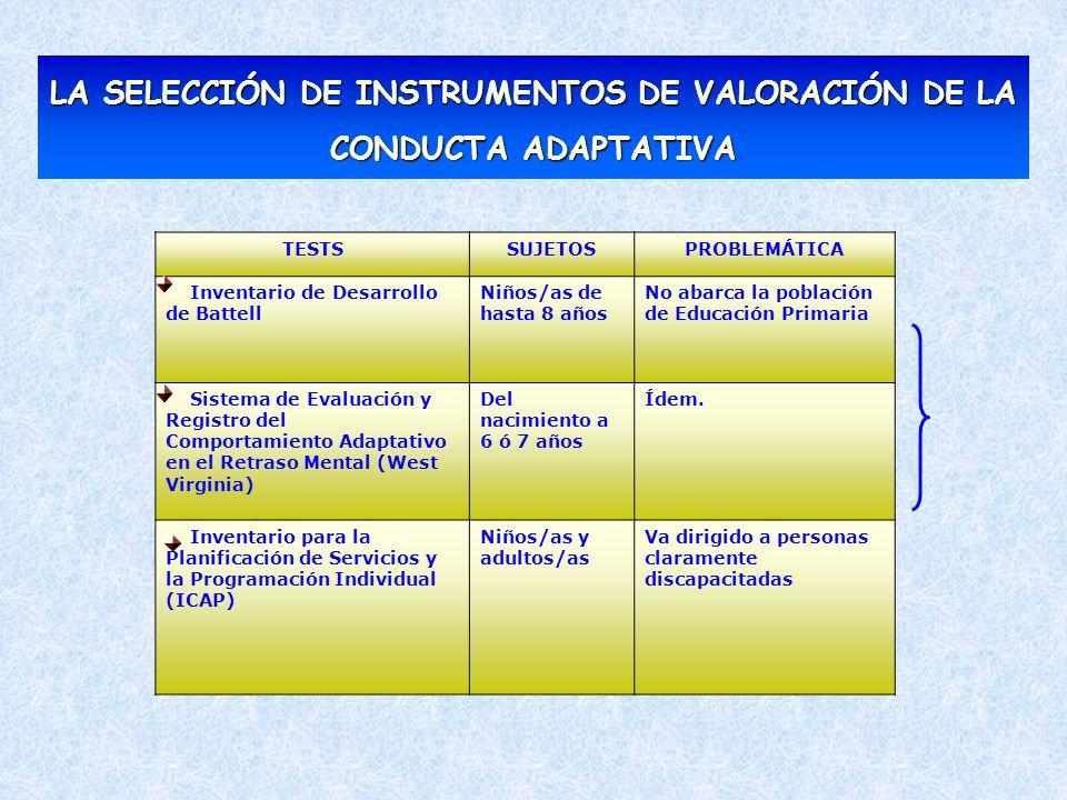 LA SELECCIÓN DE INSTRUMENTOS DE VALORACIÓN DE LA CONDUCTA ADAPTATIVA