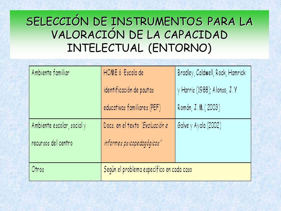 SELECCIÓN DE INSTRUMENTOS PARA LA VALORACIÓN DE LA CAPACIDAD INTELECTUAL (ENTORNO)
