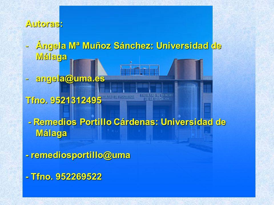 Autoras:Ángela Mª Muñoz Sánchez: Universidad de Málaga. angela@uma.es. Tfno. 9521312495. - Remedios Portillo Cárdenas: Universidad de Málaga.
