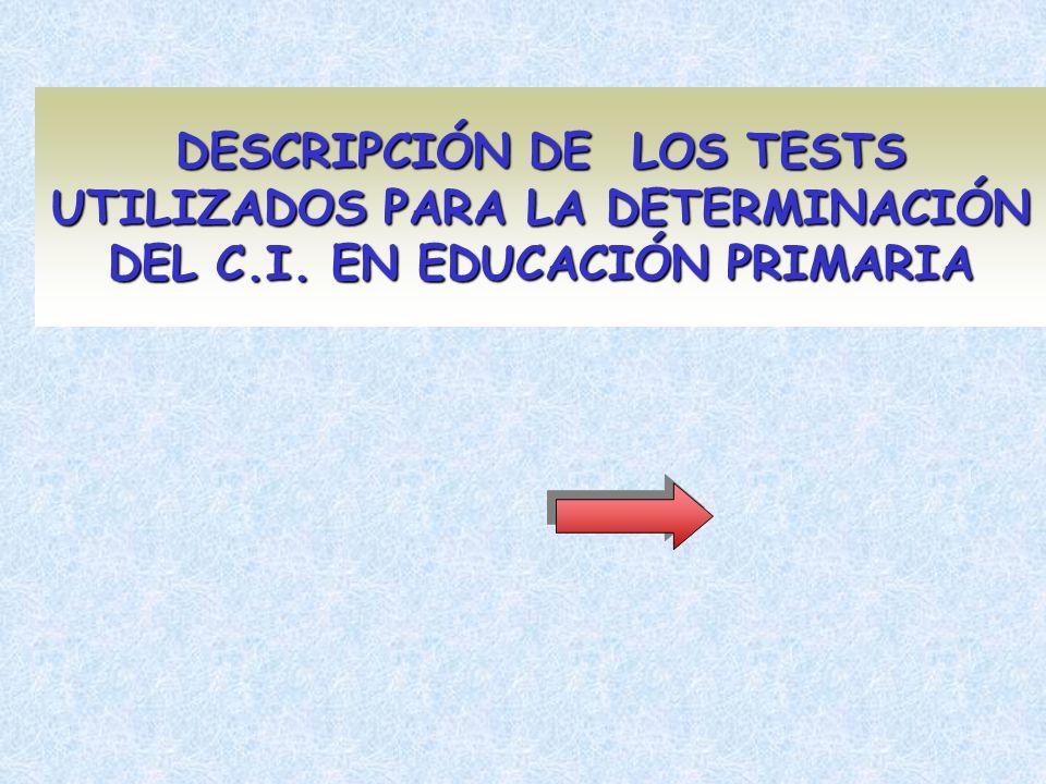 DESCRIPCIÓN DE LOS TESTS UTILIZADOS PARA LA DETERMINACIÓN DEL C. I