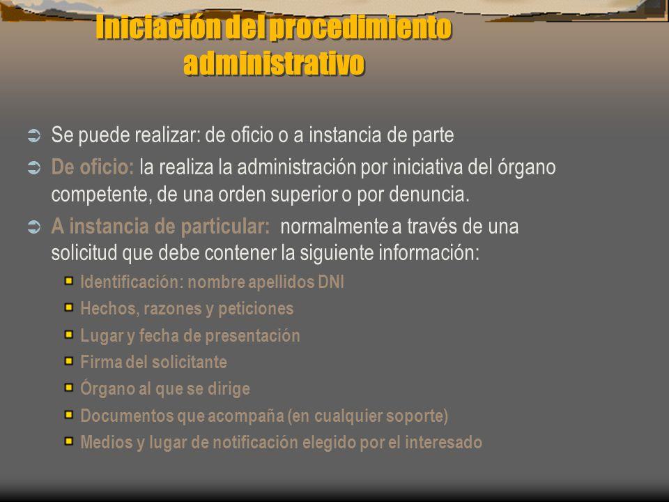 Iniciación del procedimiento administrativo
