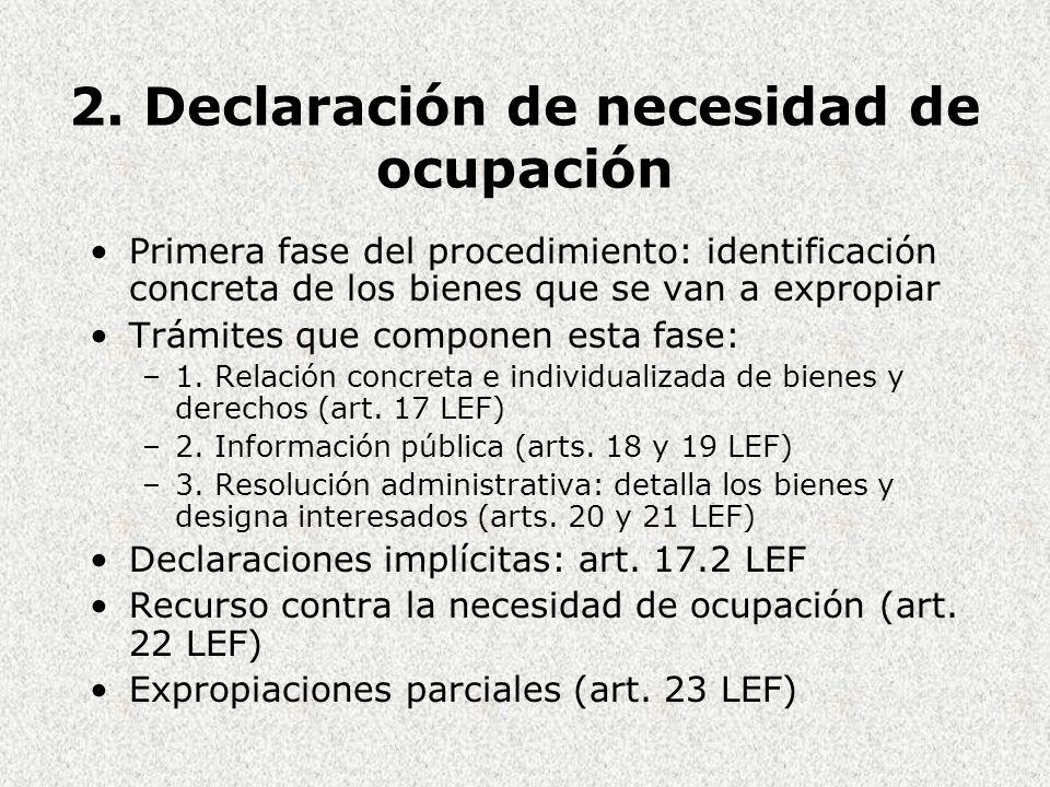 2. Declaración de necesidad de ocupación