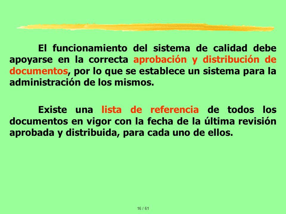 El funcionamiento del sistema de calidad debe apoyarse en la correcta aprobación y distribución de documentos, por lo que se establece un sistema para la administración de los mismos.