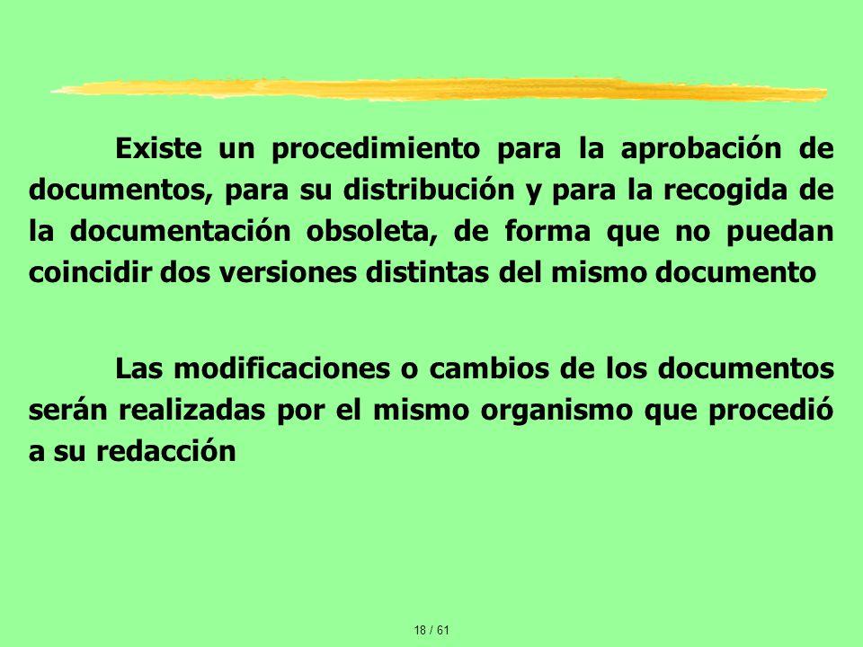 Existe un procedimiento para la aprobación de documentos, para su distribución y para la recogida de la documentación obsoleta, de forma que no puedan coincidir dos versiones distintas del mismo documento