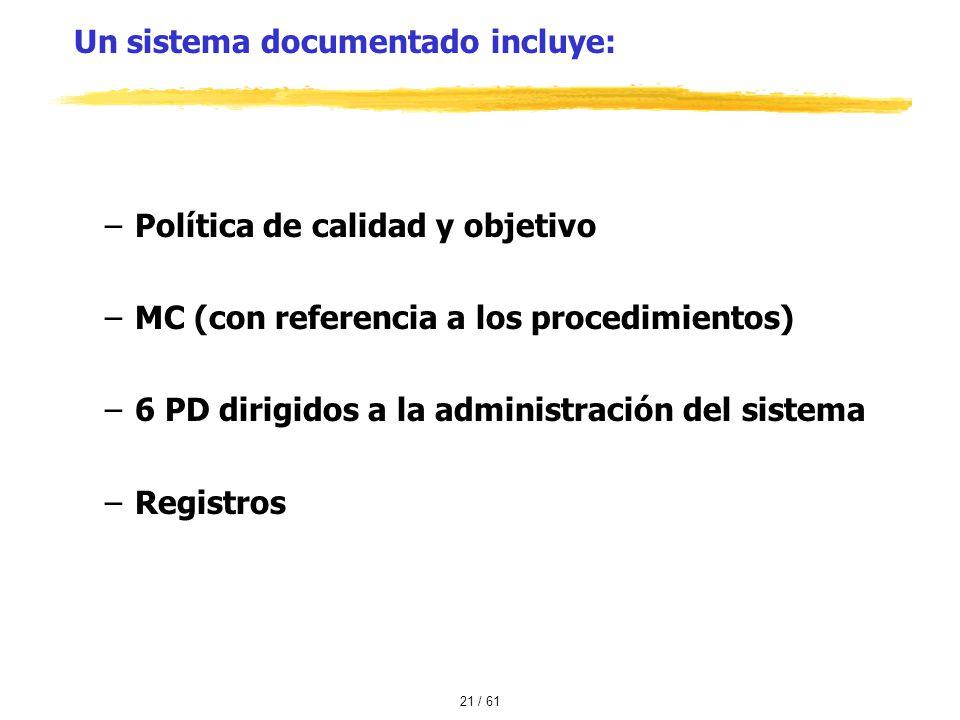 Un sistema documentado incluye: