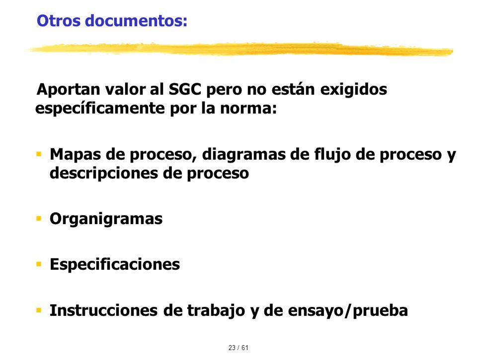 Otros documentos: Aportan valor al SGC pero no están exigidos específicamente por la norma: