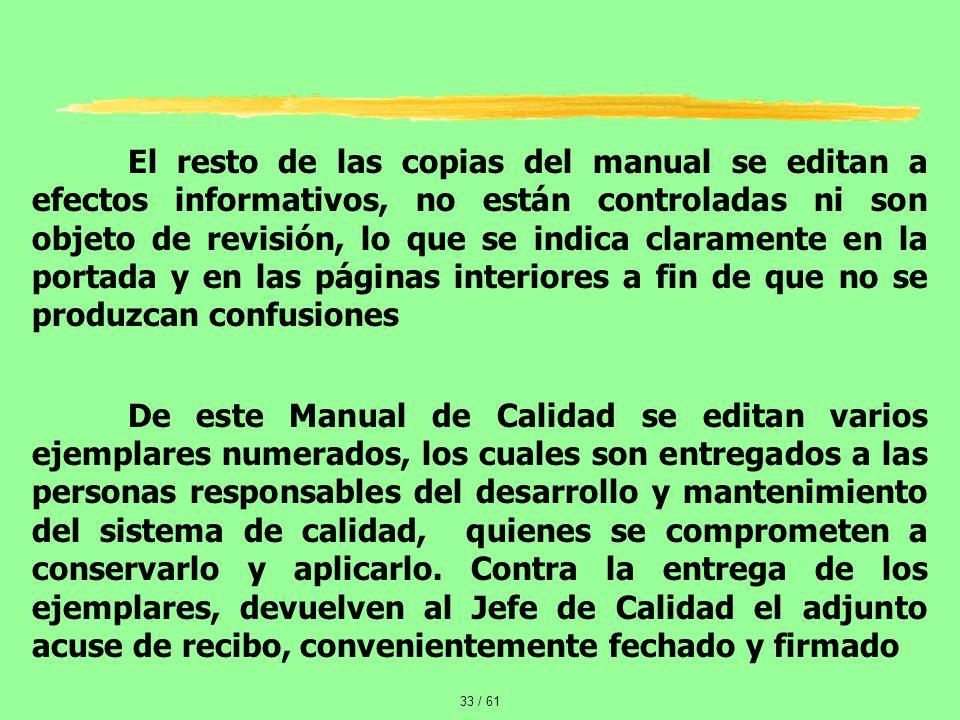 El resto de las copias del manual se editan a efectos informativos, no están controladas ni son objeto de revisión, lo que se indica claramente en la portada y en las páginas interiores a fin de que no se produzcan confusiones