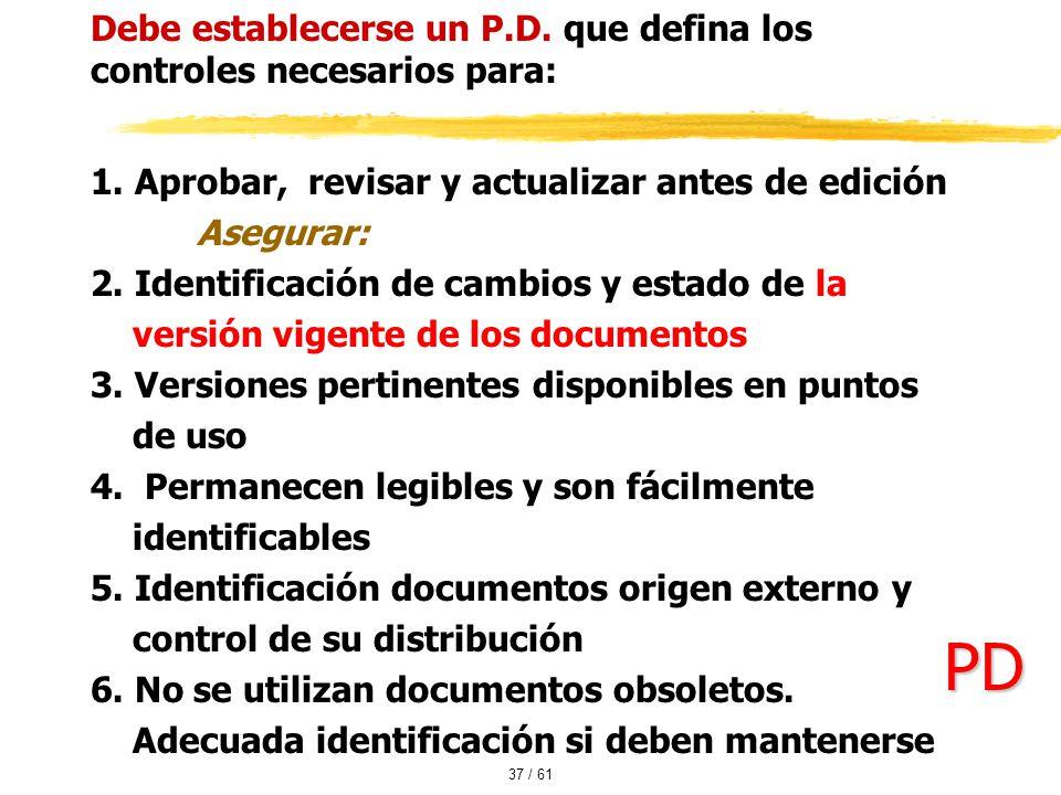 PD Debe establecerse un P.D. que defina los controles necesarios para: