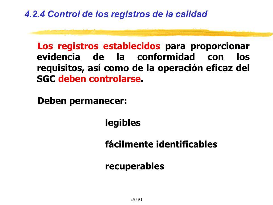 4.2.4 Control de los registros de la calidad