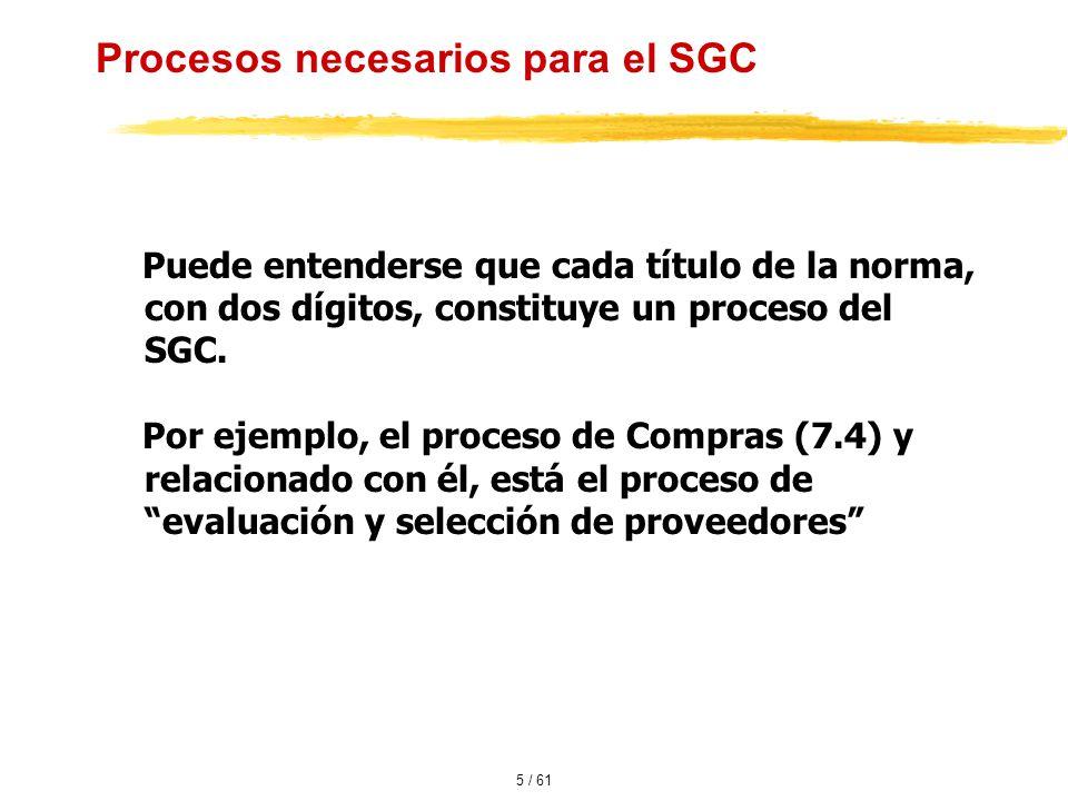 Procesos necesarios para el SGC