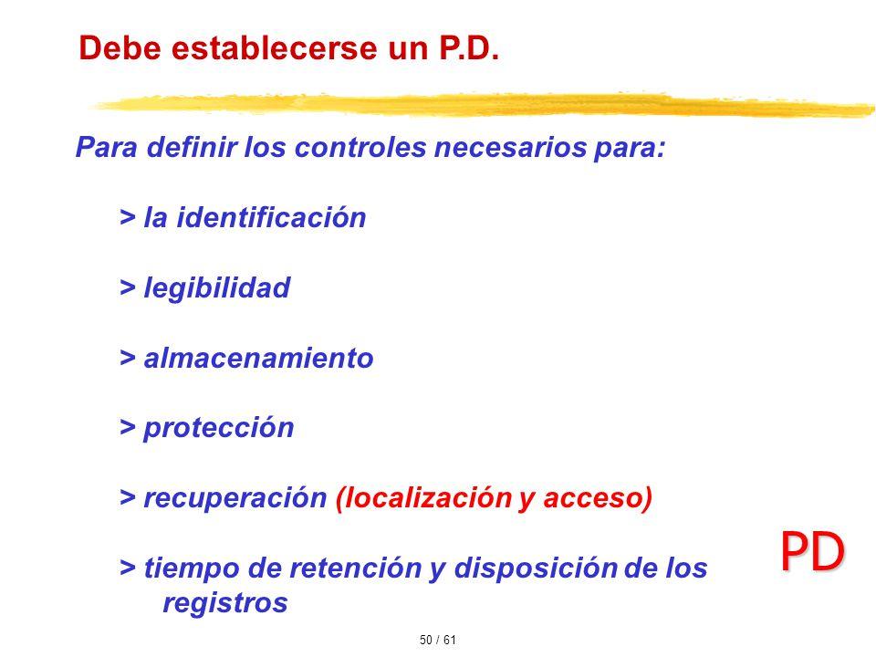 PD Debe establecerse un P.D.
