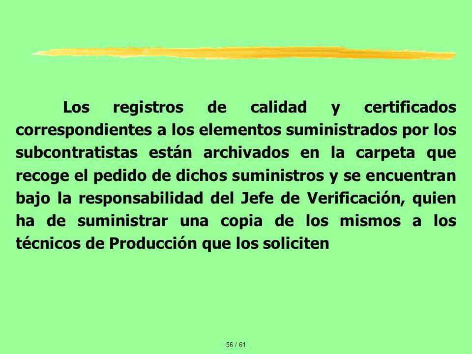 Los registros de calidad y certificados correspondientes a los elementos suministrados por los subcontratistas están archivados en la carpeta que recoge el pedido de dichos suministros y se encuentran bajo la responsabilidad del Jefe de Verificación, quien ha de suministrar una copia de los mismos a los técnicos de Producción que los soliciten