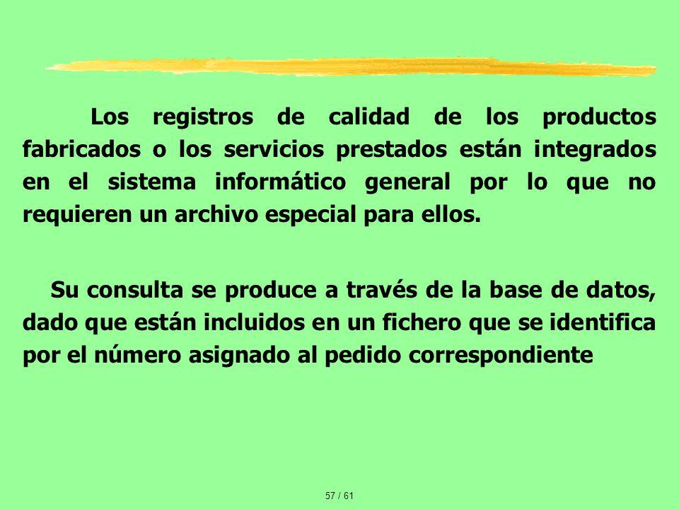 Los registros de calidad de los productos fabricados o los servicios prestados están integrados en el sistema informático general por lo que no requieren un archivo especial para ellos.
