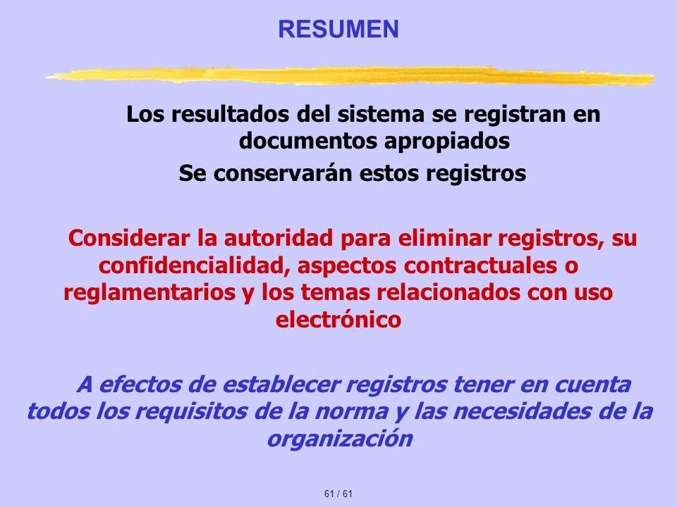 RESUMEN Los resultados del sistema se registran en documentos apropiados. Se conservarán estos registros.