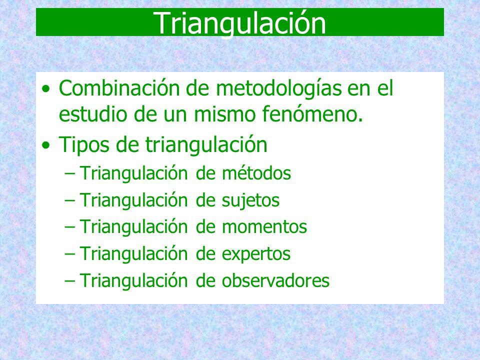 Triangulación Combinación de metodologías en el estudio de un mismo fenómeno. Tipos de triangulación.