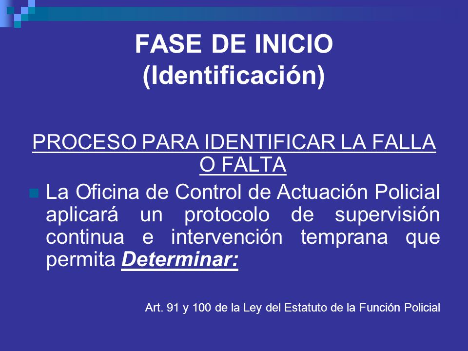 FASE DE INICIO (Identificación)