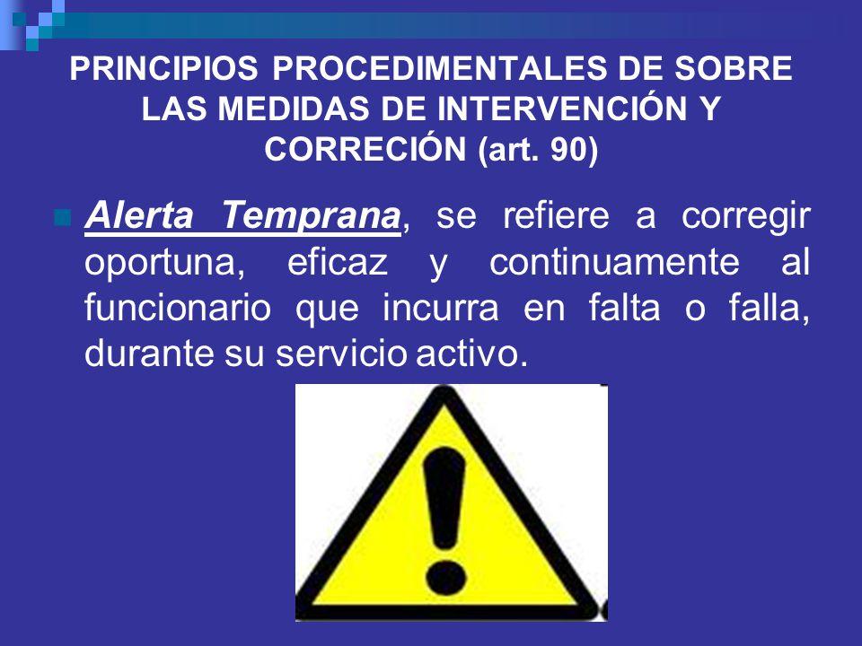 PRINCIPIOS PROCEDIMENTALES DE SOBRE LAS MEDIDAS DE INTERVENCIÓN Y CORRECIÓN (art. 90)