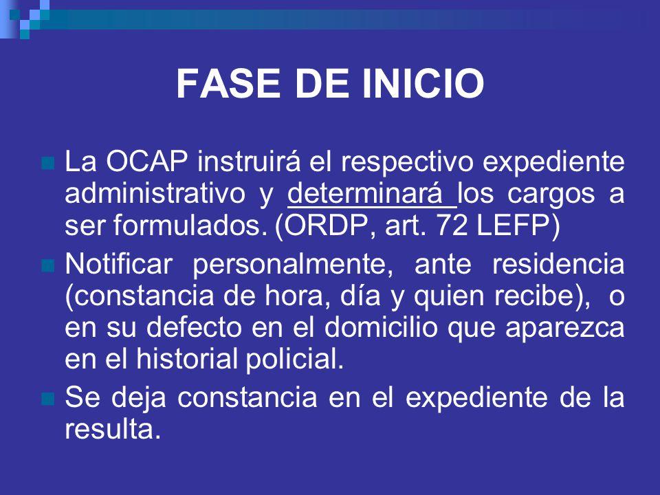 FASE DE INICIO La OCAP instruirá el respectivo expediente administrativo y determinará los cargos a ser formulados. (ORDP, art. 72 LEFP)
