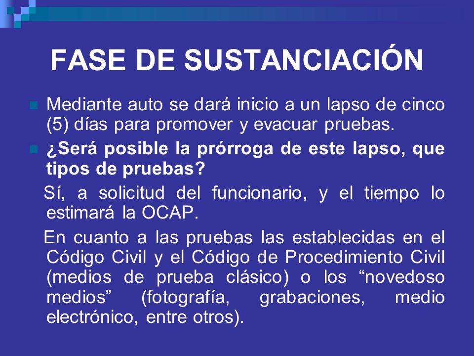 FASE DE SUSTANCIACIÓN Mediante auto se dará inicio a un lapso de cinco (5) días para promover y evacuar pruebas.
