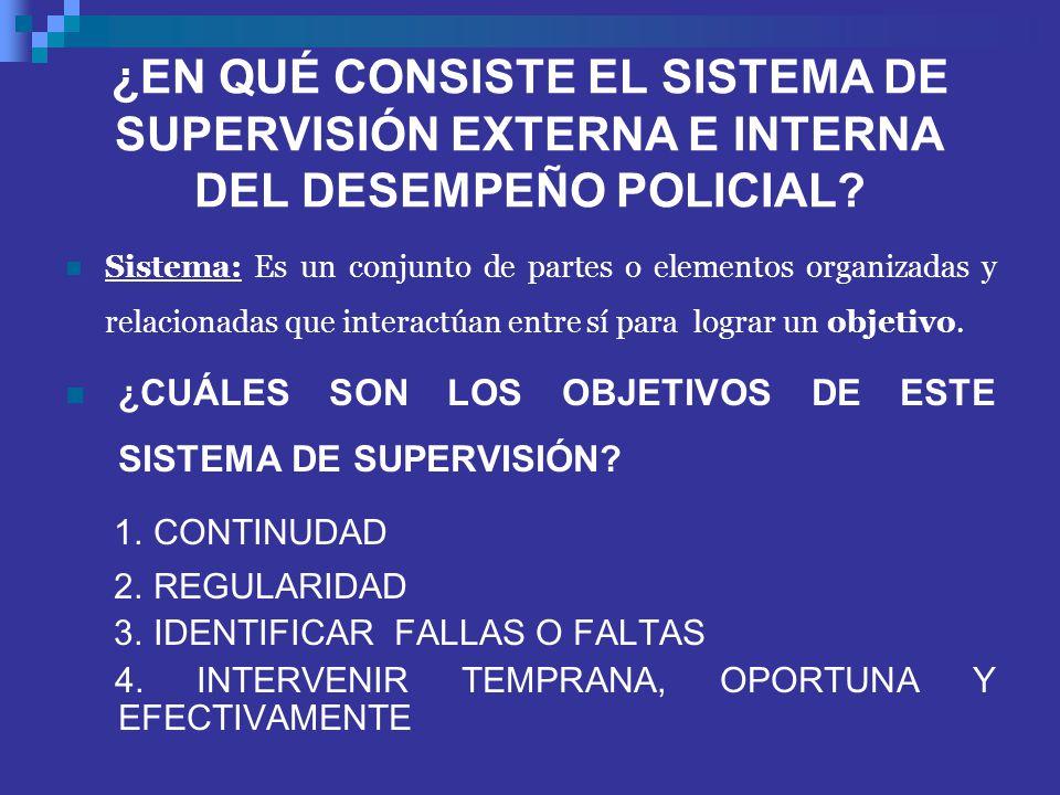 ¿EN QUÉ CONSISTE EL SISTEMA DE SUPERVISIÓN EXTERNA E INTERNA DEL DESEMPEÑO POLICIAL