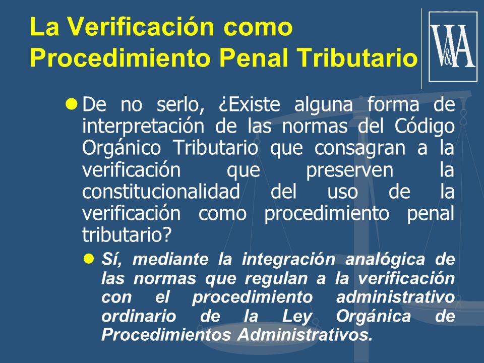 La Verificación como Procedimiento Penal Tributario