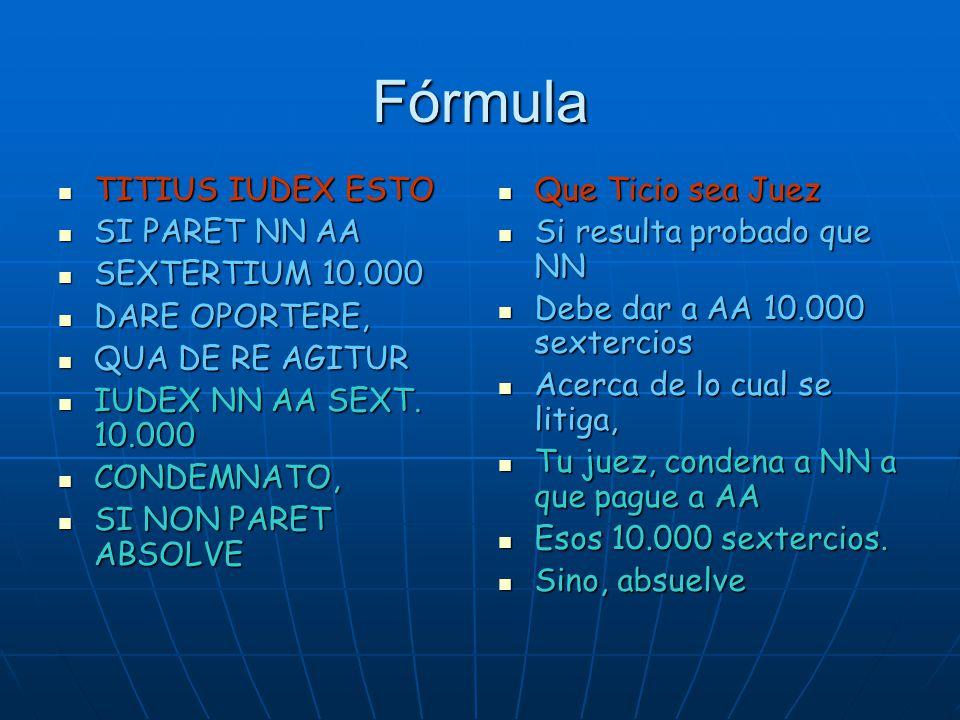 Fórmula TITIUS IUDEX ESTO SI PARET NN AA SEXTERTIUM 10.000