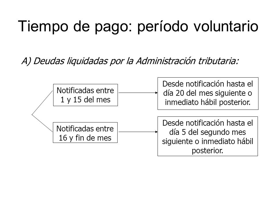 Tiempo de pago: período voluntario