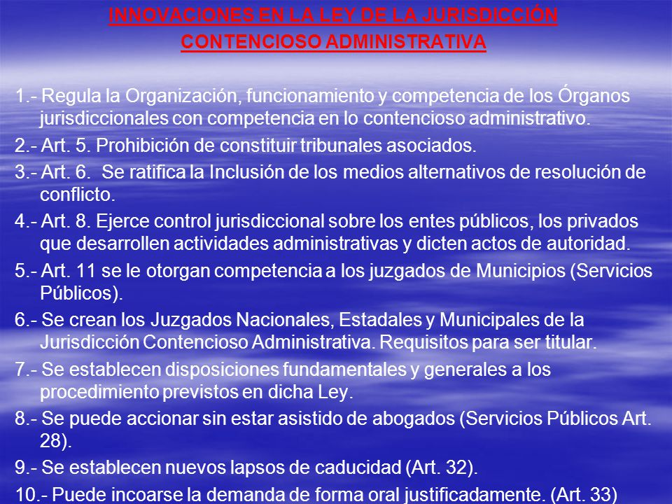 INNOVACIONES EN LA LEY DE LA JURISDICCIÓN CONTENCIOSO ADMINISTRATIVA