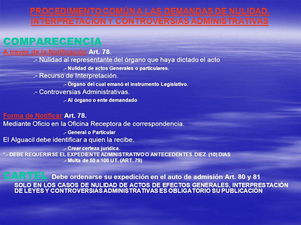 PROCEDIMIENTO COMÚN A LAS DEMANDAS DE NULIDAD, INTERPRETACIÓN Y CONTROVERSIAS ADMINISTRATIVAS