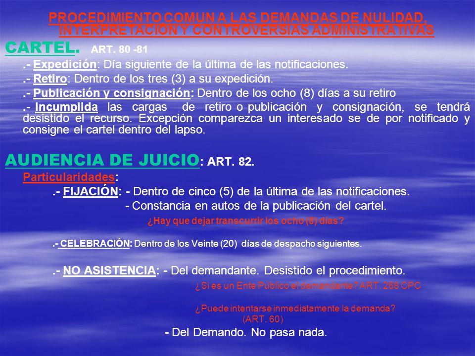AUDIENCIA DE JUICIO: ART. 82.