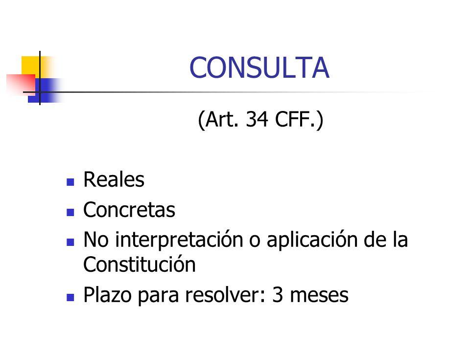 CONSULTA (Art. 34 CFF.) Reales Concretas