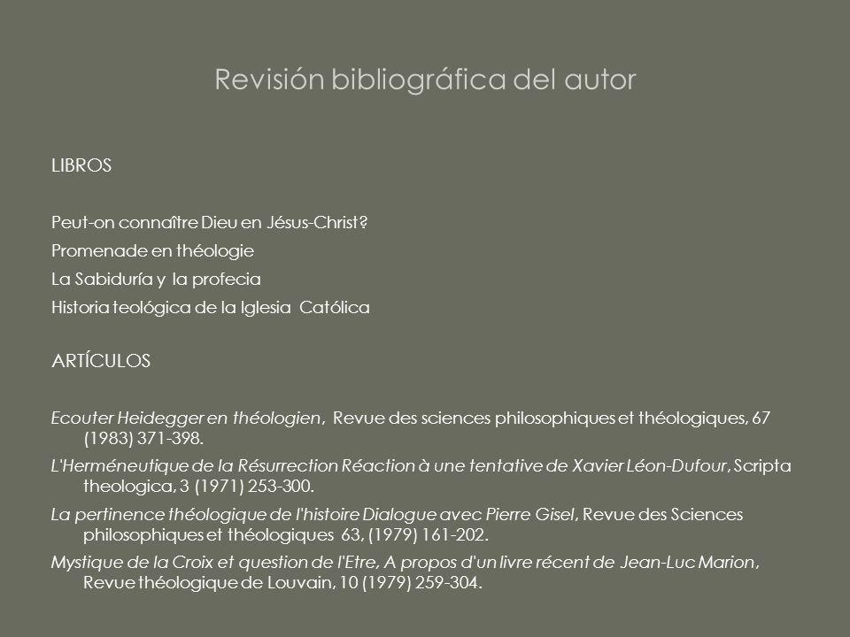 Revisión bibliográfica del autor
