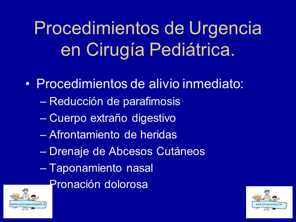 Procedimientos de Urgencia en Cirugía Pediátrica.