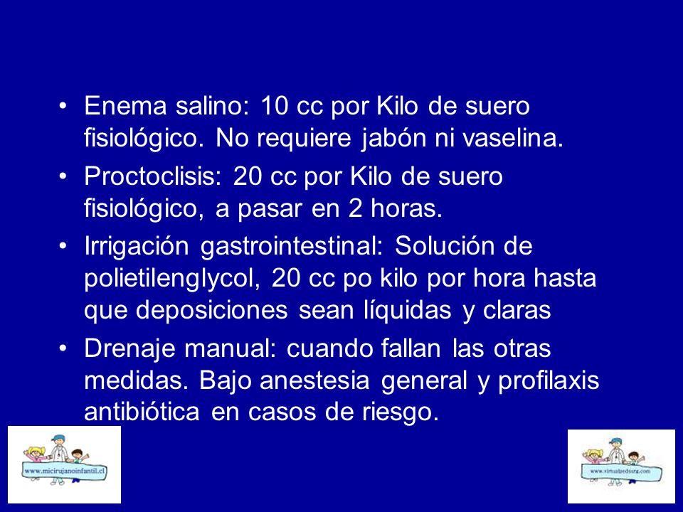 Enema salino: 10 cc por Kilo de suero fisiológico