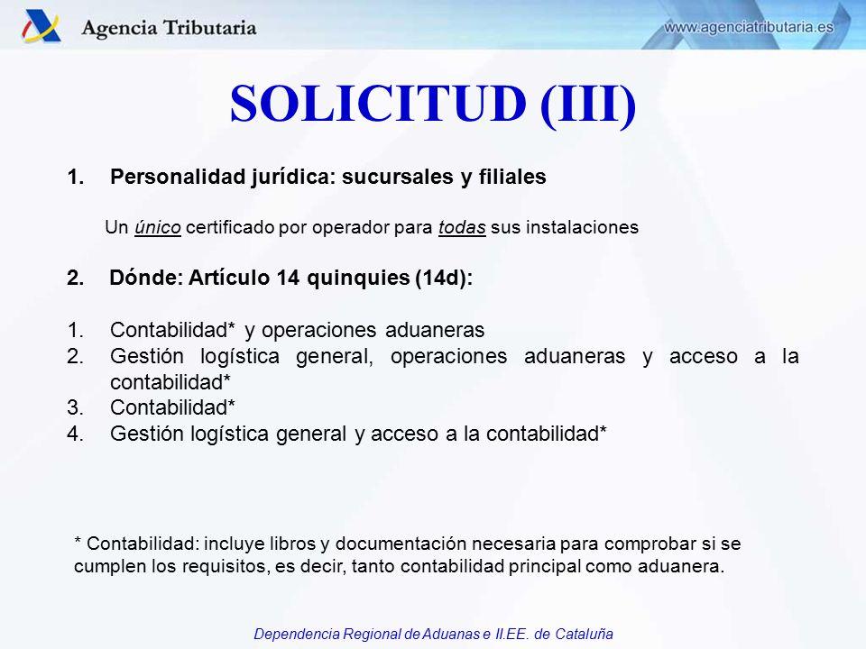 SOLICITUD (III) Personalidad jurídica: sucursales y filiales
