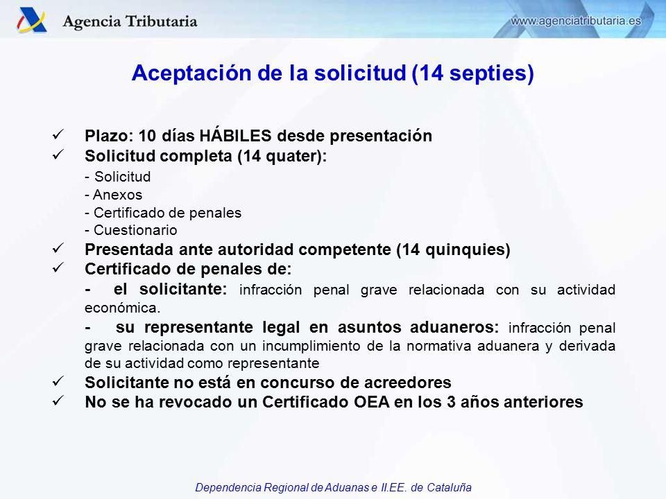 Aceptación de la solicitud (14 septies)