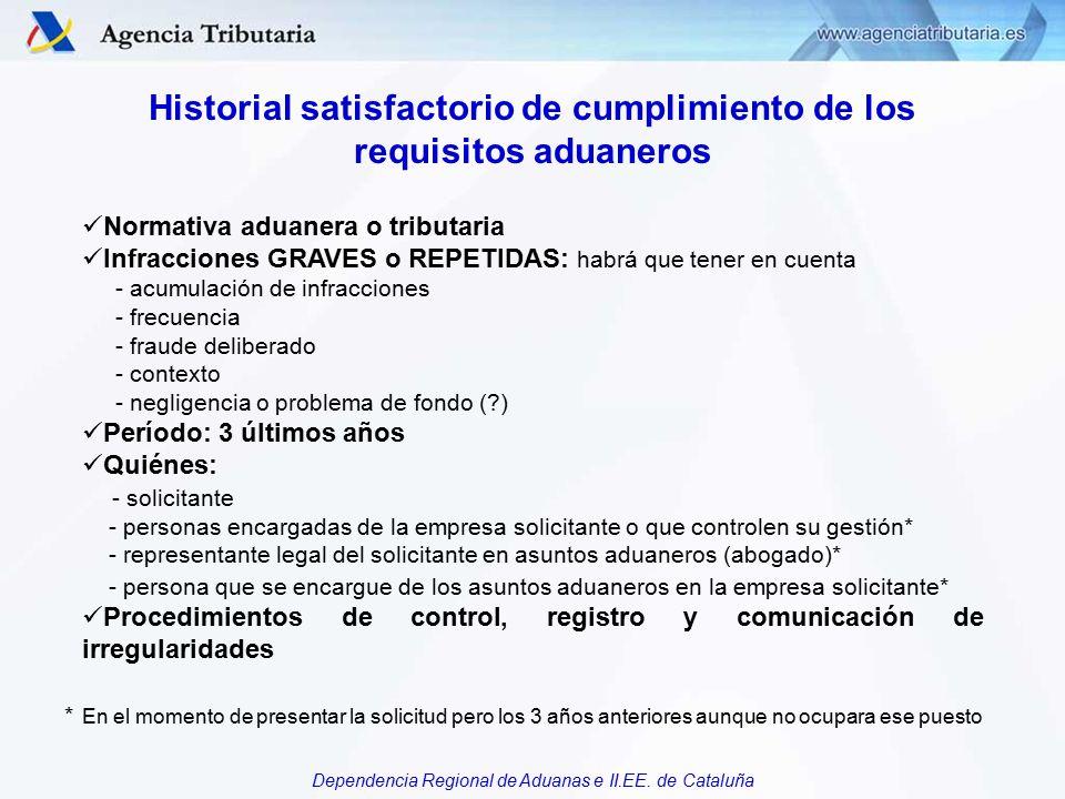 Historial satisfactorio de cumplimiento de los requisitos aduaneros