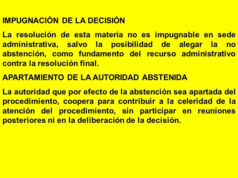 IMPUGNACIÓN DE LA DECISIÓN