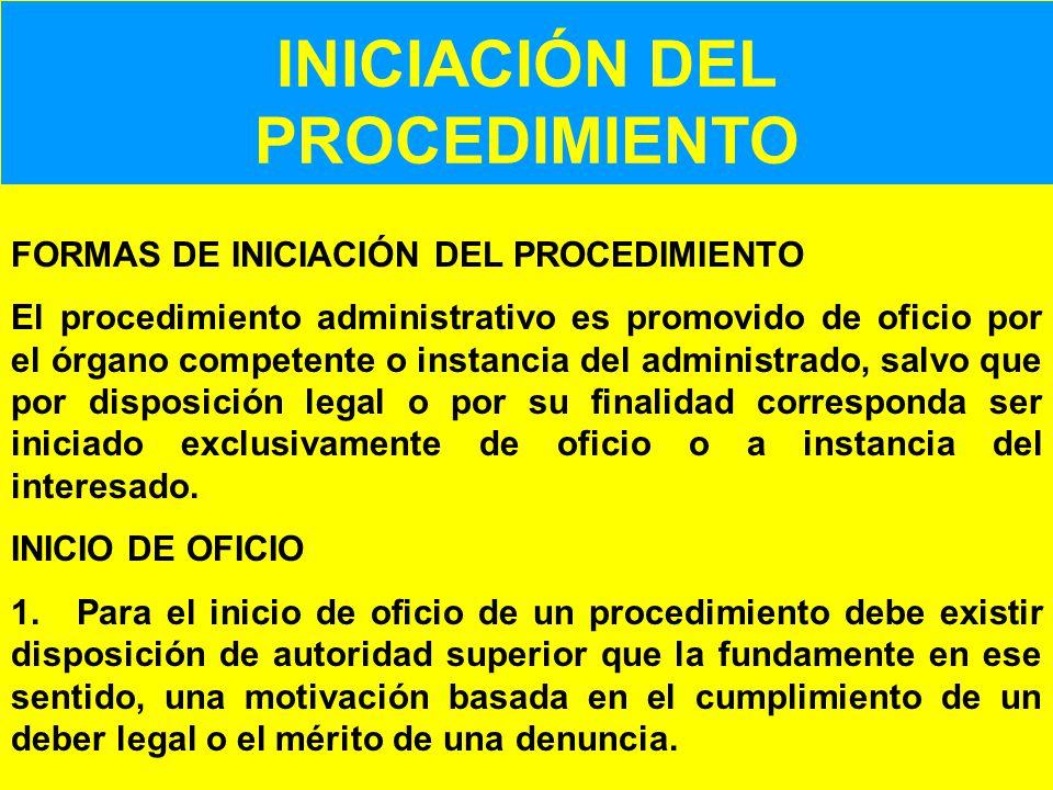 INICIACIÓN DEL PROCEDIMIENTO