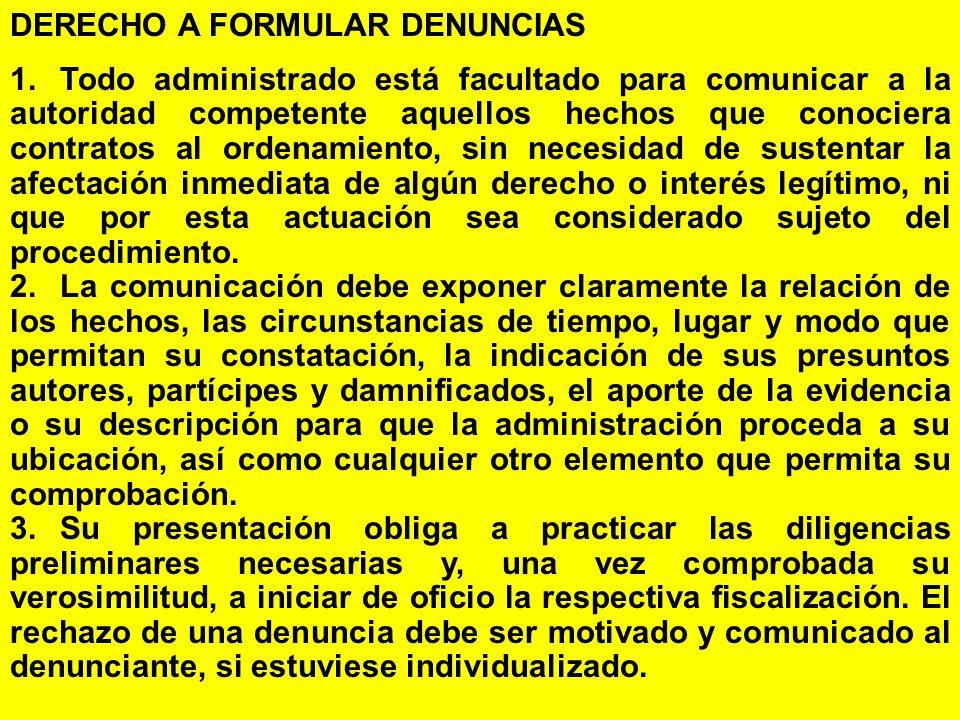 DERECHO A FORMULAR DENUNCIAS