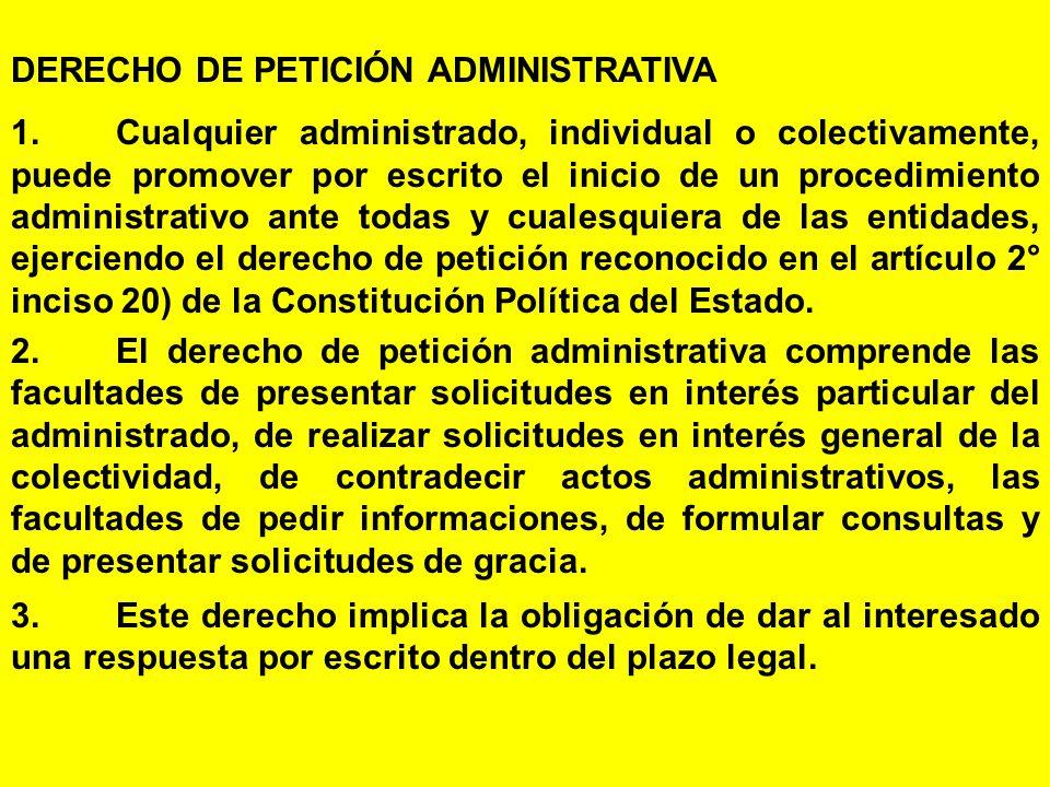 DERECHO DE PETICIÓN ADMINISTRATIVA