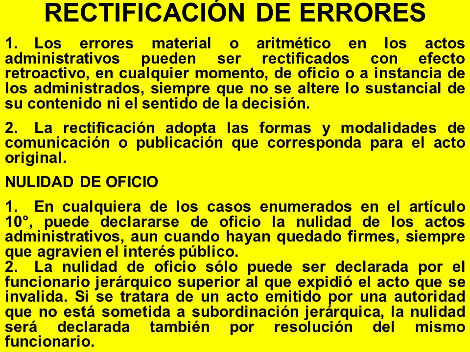 RECTIFICACIÓN DE ERRORES