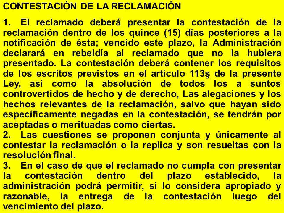 CONTESTACIÓN DE LA RECLAMACIÓN