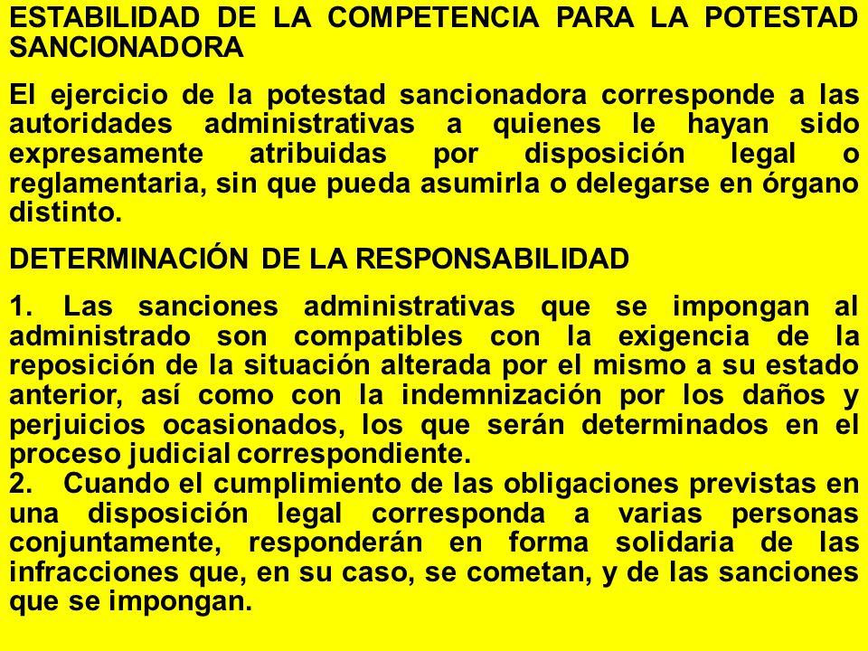 ESTABILIDAD DE LA COMPETENCIA PARA LA POTESTAD SANCIONADORA